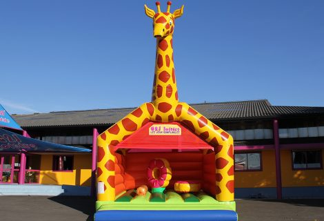 GIRAFE AVEC MURS & OBSTACLES 6.5x5m GONFLABLE
